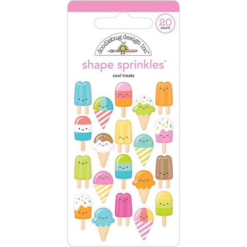 Doodlebug Sprinkles Adhesive Glossy Enamel Shapes 20 pack - Cool Treats