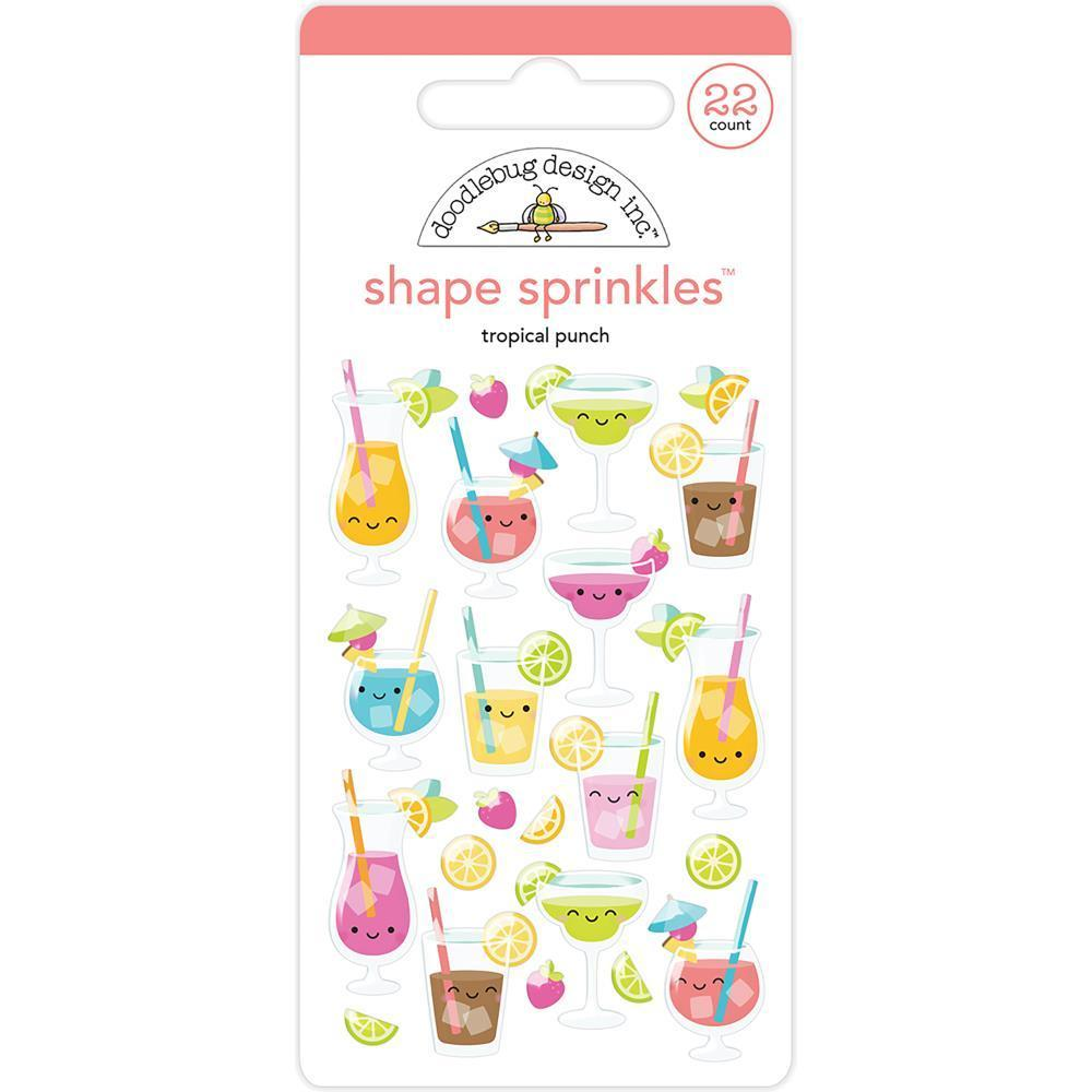 Doodlebug Sprinkles Adhesive Glossy Enamel Shapes 22 pack - Tropical Punch