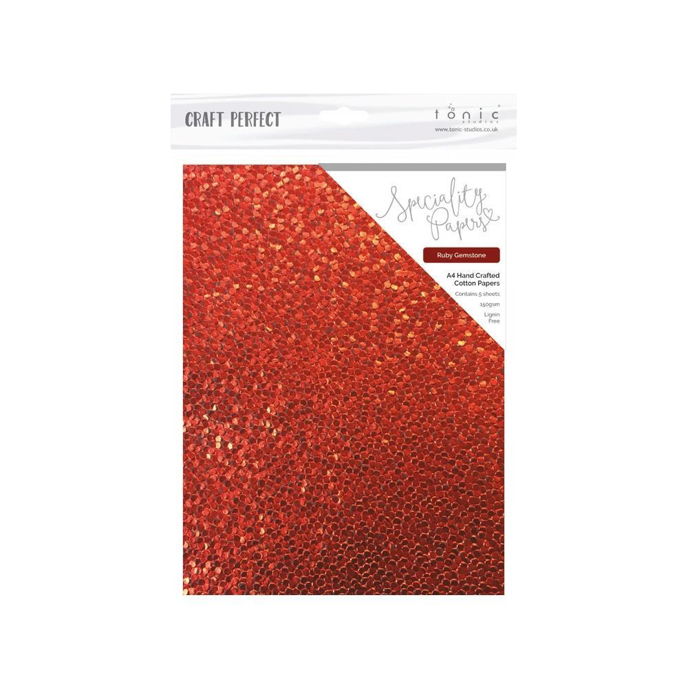 Craft Perfect Handcrafted Embossed Cotton Papers A4 5 pack - Ruby Gemstone