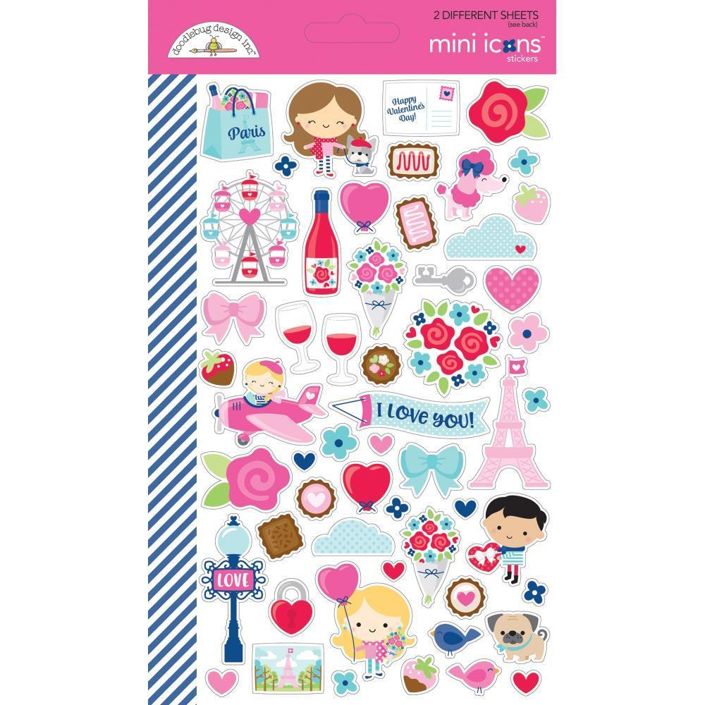 Doodlebug Mini Cardstock Stickers 2 pack - French Kiss