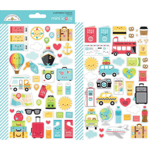 Dooblebug Mini Cardstock Stickers 2 pack - I Heart Travel - Icons