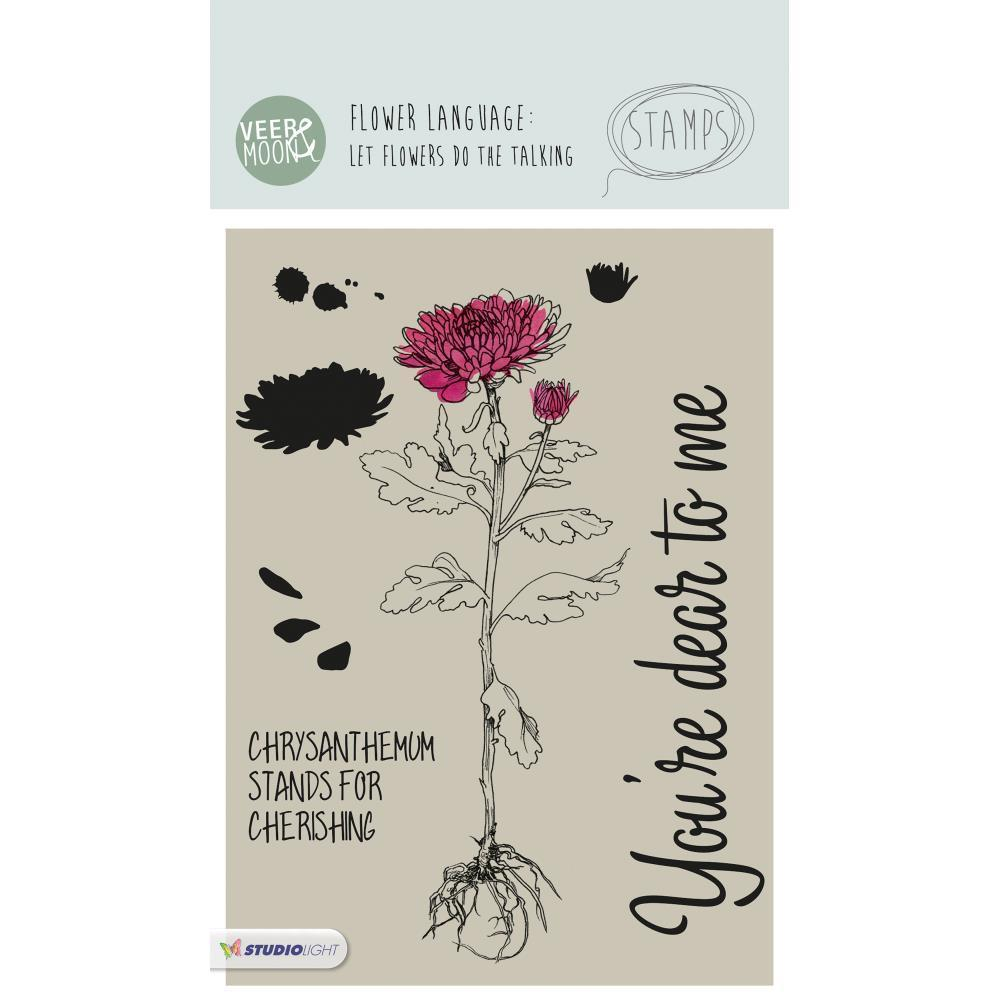 Studio Light - Veer & Moon Flower Language A6 Stamps - Chrysanthemum Stands For Cherishing
