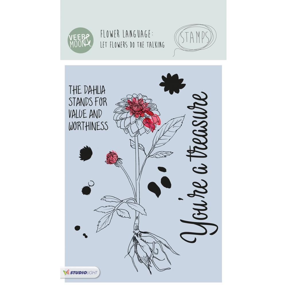 Studio Light - Veer & Moon Flower Language A6 Stamps - The Dahlia Stands For Value