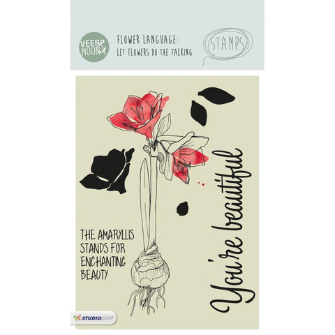 Studio Light - Veer & Moon Flower Language A6 Stamps - The Amaryllis Stands For Beauty