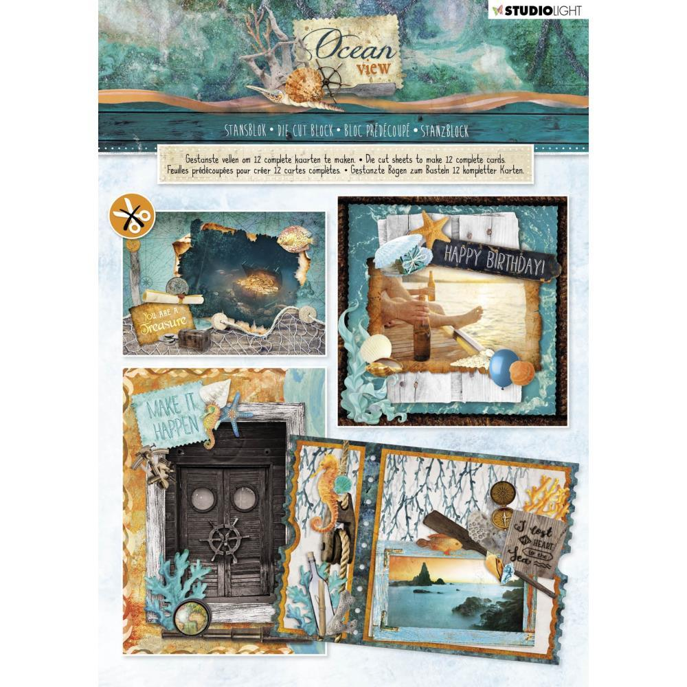 Studio Light Die-Cut Card Toppers A4 12 pack - Ocean View, Makes 12 Cards