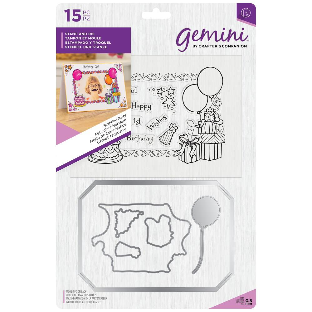 Crafters Companion Gemini Stamps & Dies - Birthday Party Photoframe & Wallet