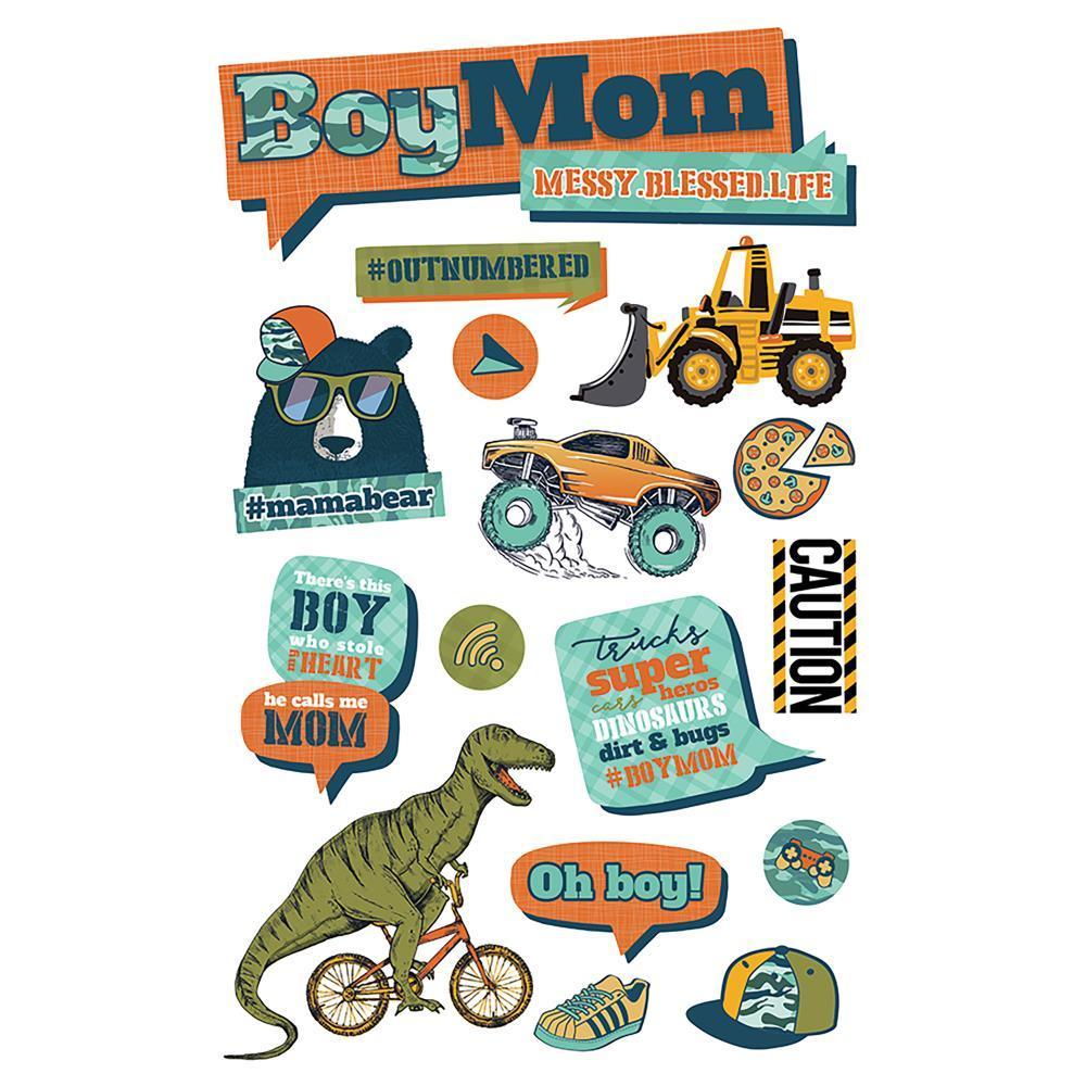 Paper House 3D Stickers 4.5x7 inch - Boy Mom