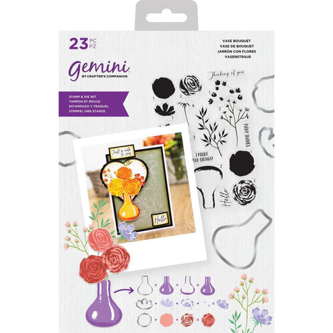 Crafters Companion Gemini Layering Stamps & Dies - Vase Of Flowers