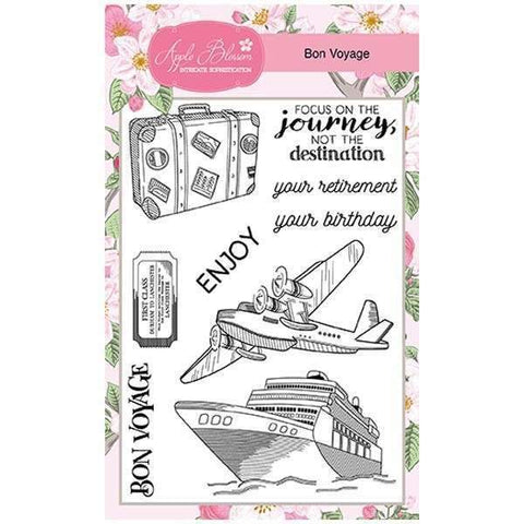 Apple Blossom A6 Stamp Set - Bon Voyage - Set of 9 Stamps