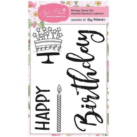 Apple Blossom A6 Stamp Set - Birthday with Sentiments Set of 4 - Heartfelt Moments