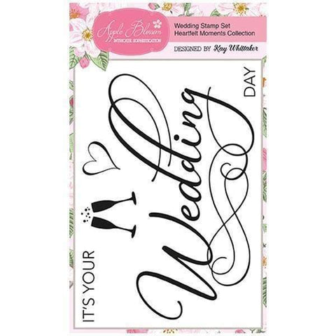 Apple Blossom A6 Stamp Set - Wedding with Sentiments Set of 5 - Heartfelt Moments