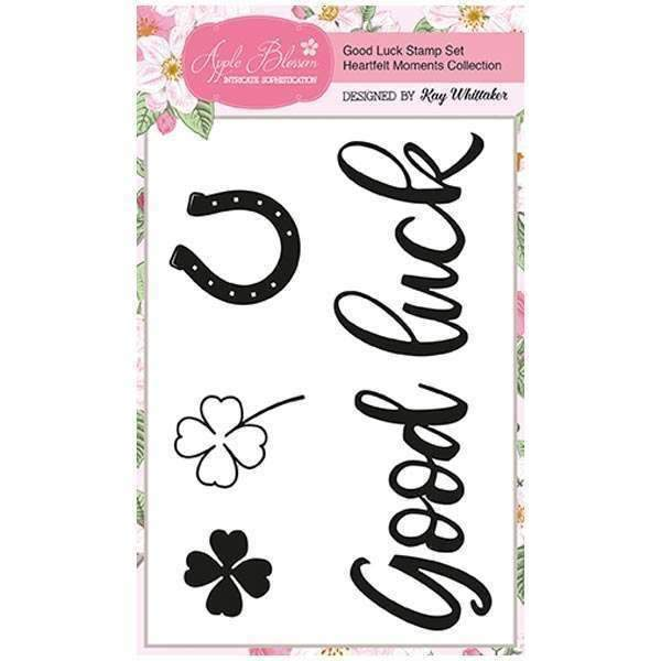 Apple Blossom A6 Stamp Set - Good Luck with Sentiment - Set of 4 - Heartfelt Moments