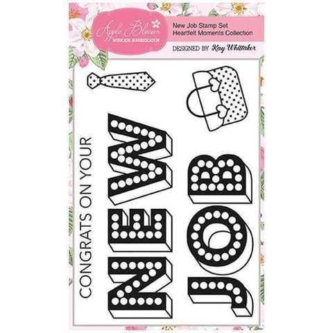 Apple Blossom A6 Stamp Set - New Job with Sentiments - Set of 5 - Heartfelt Moments