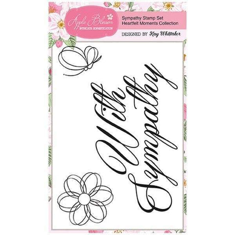 Apple Blossom A6 Stamp Set - Sympathy with Sentiment - Set of 3 - Heartfelt Moments