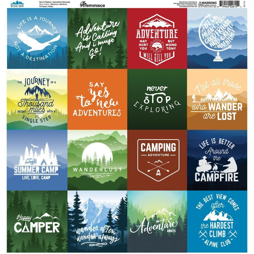 Reminisce Collection Scenic View Square Stickers 12 x12 inch