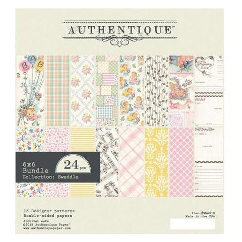 Authentique D/S Cardstock Pad 6x6inch 24 pack - Swaddle Girl