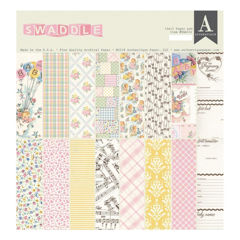 Authentique D/S Cardstock Pad 12x12inch 24 pack - Swaddle Girl