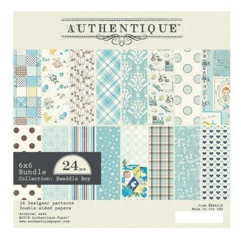 Authentique D/S Cardstock Pad 6x6inch 24 pack - Swaddle Boy