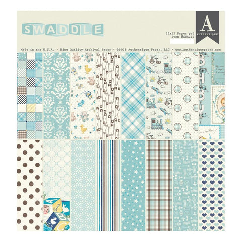 Authentique D/S Cardstock Pad 12x12inch 24 pack - Swaddle Boy