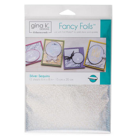 Gina K Designs Fancy Foil 6x8 inch - Silver Sequins 12 Pk