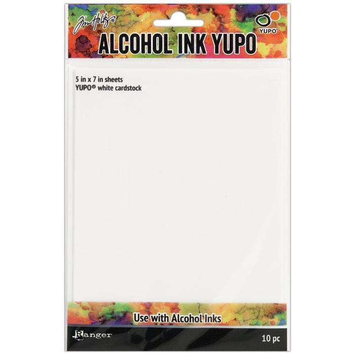 Tim Holtz Alcohol Ink White Yupo Paper 10 Sheets 5 Inch X7 Inch