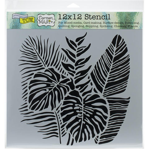Crafters Workshop Template 12in x 12in Tropical Fronds