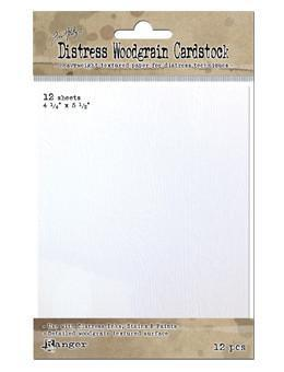 Tim Holtz - Distress Woodgrain Cardstock 4.25 X 5.5 Inch (12 Sheets)