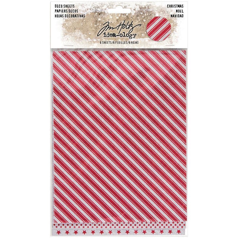 Tim Holtz - Idea-Ology Adhesive Deco Sheets 7x5.5 inch - Christmas Glittered 6 Pk