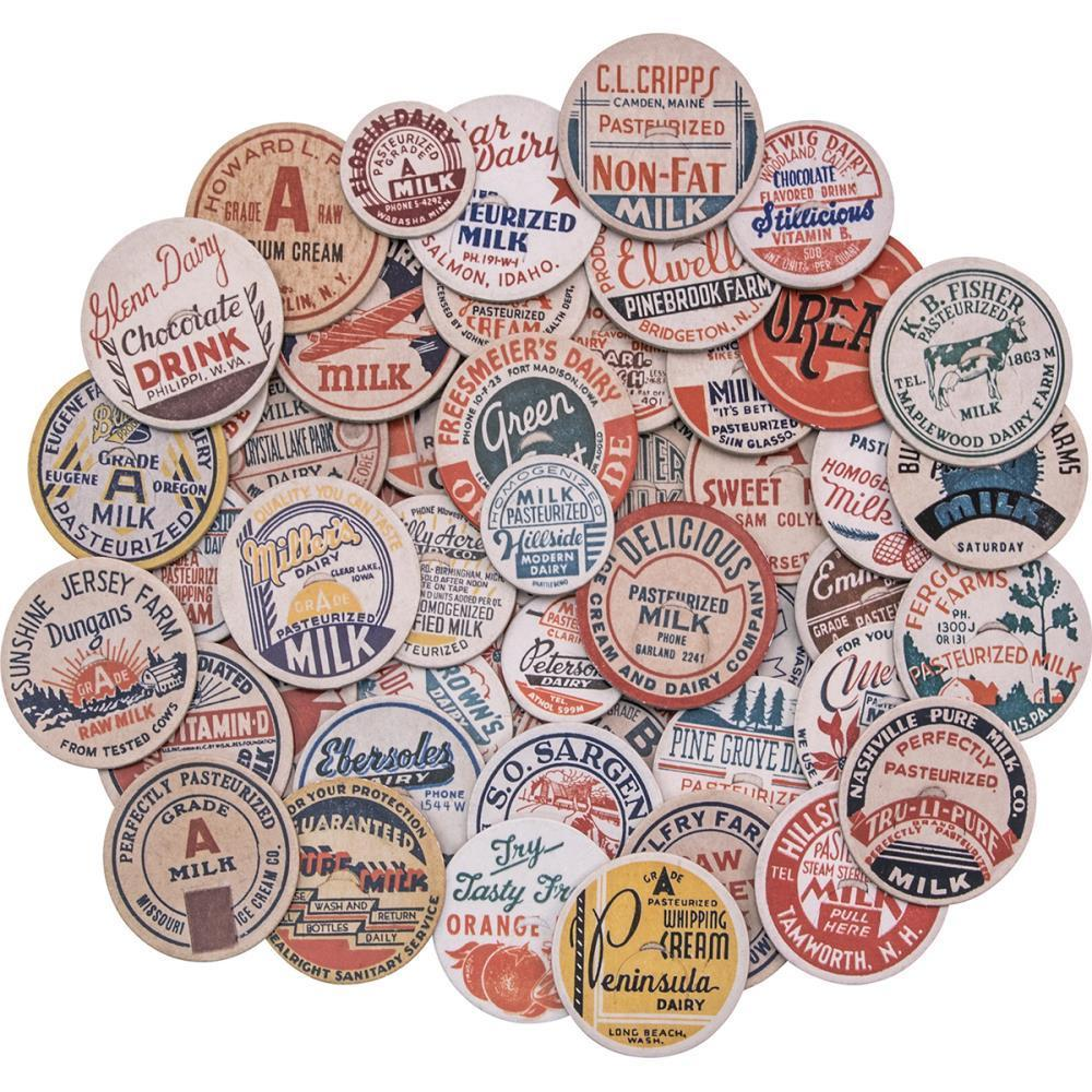 Tim Holtz - Idea-Ology Chipboard Milk Caps 50 pack Assorted Sizes