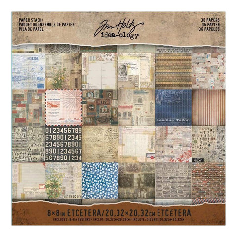 Tim Holtz Idea-Ology Paper Stash D/Sided Paper Pad 8x8 inch 36 pack - Etcetera