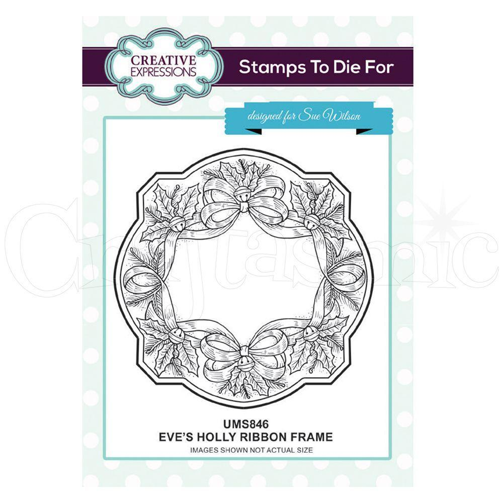 Creative Expressions Pre Cut Stamp - Eves Holly Ribbon Frame