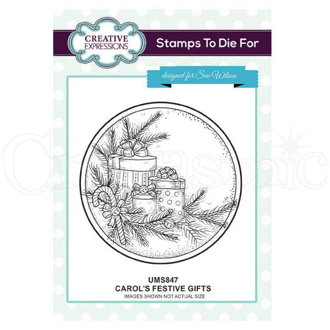 Creative Expressions Pre Cut Stamp - Carols Festive Gifts