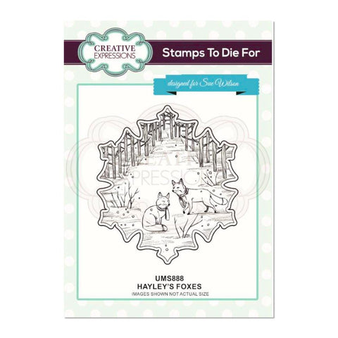 Creative Expressions - Hayley's Foxes Pre Cut Stamp