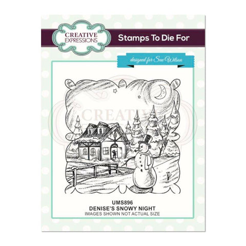 Creative Expressions - Denise's Snowy Night Pre Cut Stamp
