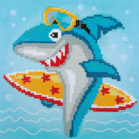 Vervaco Diamond Art Beginner Kit with Frame 8.5in X 8.5in - Surfing Shark