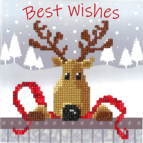 Vervaco Diamond Art Greeting Card Kit 7.25in x 7.25in -Reindeer