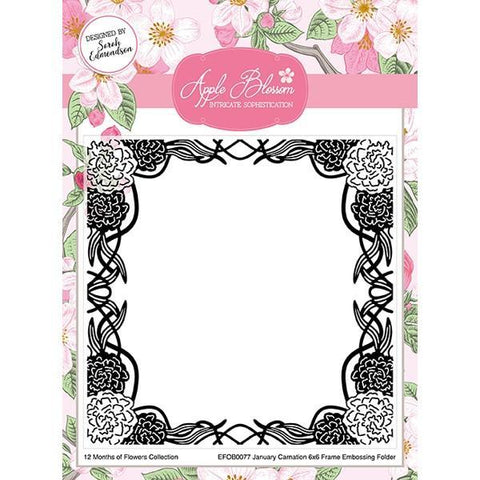 Apple Blossom - 12 Months of Flowers Collection - January Carnation Embossing Folder 6 x 6 inch