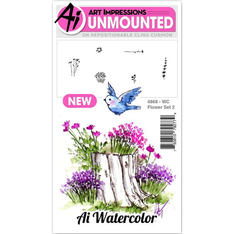 Art Impressions Watercolour Cling Rubber Stamps-  Flower 2