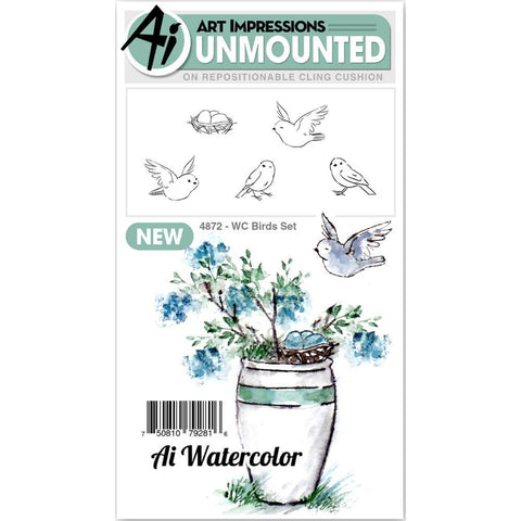 Art Impressions Watercolour Cling Rubber Stamps - Birds