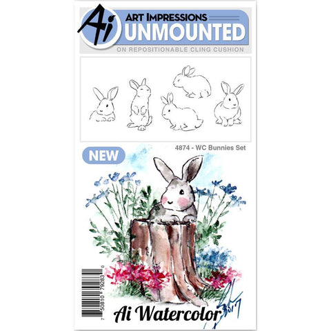 Art Impressions Watercolour Cling Rubber Stamps - Bunnies