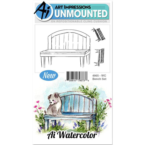 Art Impressions Watercolor Cling Rubber Stamps 4x7 inch - Bench