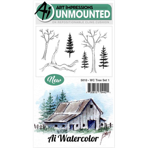 Art Impressions Watercolor Cling Rubber Stamps - Tree Set 1