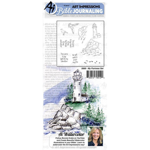 Art Impressions Bible Journaling Watercolour Rubber Stamps My Fortress
