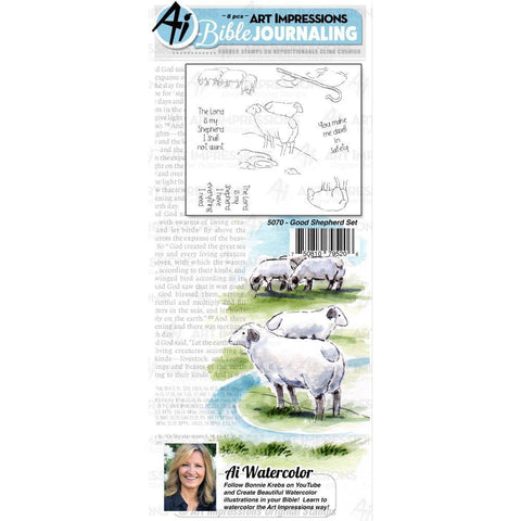 Art Impressions Bible Journaling Watercolour Rubber Stamps Good Shepherd