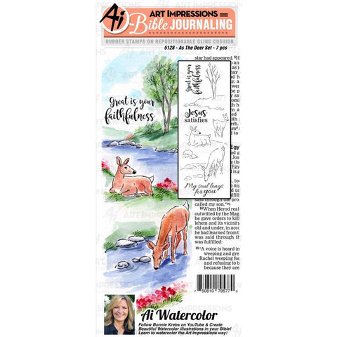 Art Impressions Bible Journaling Watercolour Rubber Stamps As The Deer