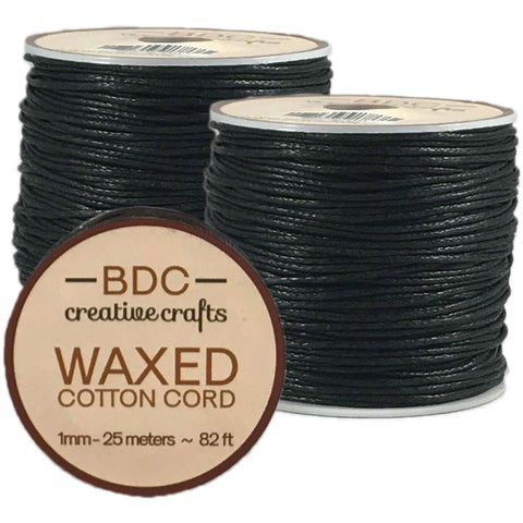 Waxed Cotton Bracelet Cord 1mmX24m Black