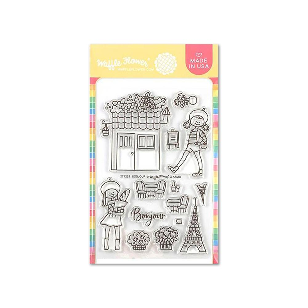 Waffle Flower Crafts - Clear Photopolymer 4X6in Stamps - Bonjour
