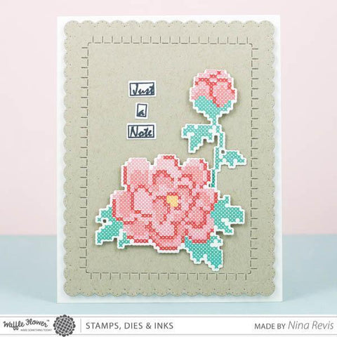 Waffle Flower Crafts Clear Stamps 4x6 inch - Stitched Peonie