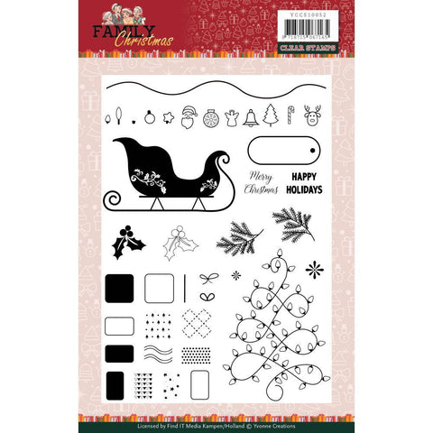 Find It Trading Yvonne Creations Clear Stamps - Family Christmas