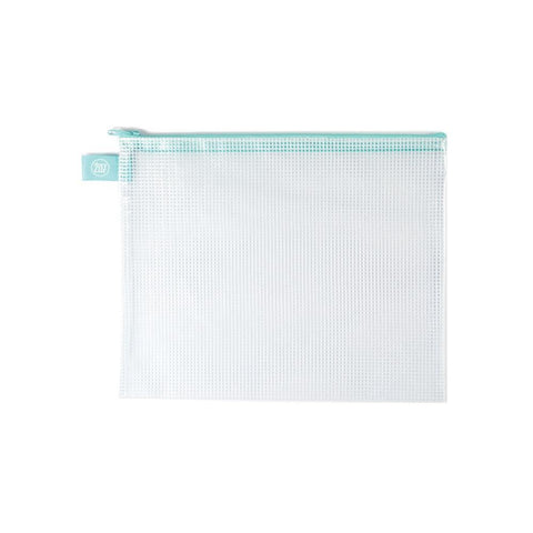 Avery Elle Zippered Vinyl Mesh Pouch - Aqua - Large